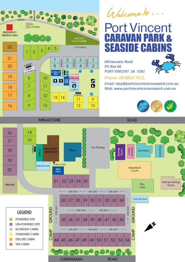 Map of Port Vincent Caravan Park & Seaside Cabins
